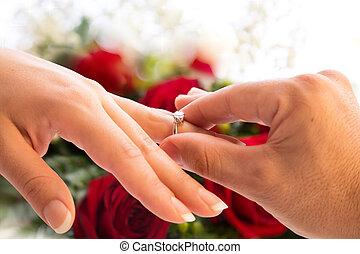 obietnica, i, propozycja, do, ślub