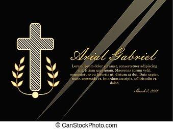 obituary, elementos, ramos, dourado, funeral, lawrence, luxuoso, experiência., pretas, anúncio, enterro, cristão, design., crucifixo
