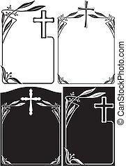 memorial plaque or obituary notice - black and white art deco frames and borders