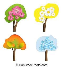 objętościowy, snowflakes., liście, drzewa, kwiaty, wektor, rok, pory, signs.