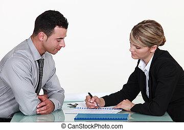 objaśniając, kobieta, kontrakt, człowiek