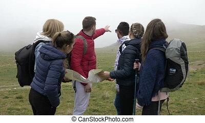 objaśniając, mapa, przewodniczy, marszruta, młody, ...
