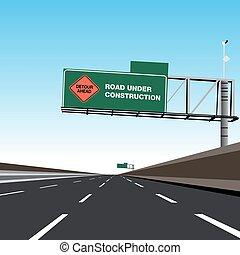 objazd, znak, autostrada, zbudowanie, droga, pod, opróżniać