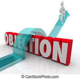 objeção, superar, disputa, desafio, negativo, realimentação, seta, este prego