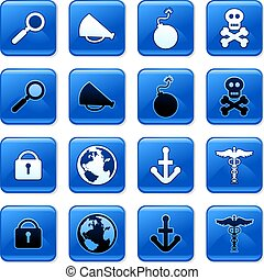 object buttons - collection of blue square everyday object ...