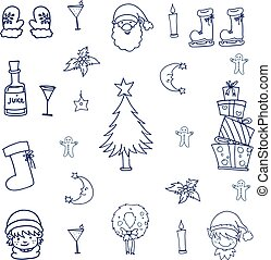 Object christmas doodle set vector