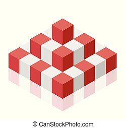 Object in shape of pyramid. Abstract cube vector shape