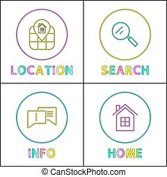 Information retrieval for object depiction icons set. Location and home, search and information minimalistic vector color symbols in line design.