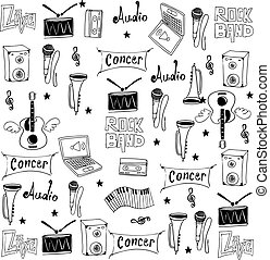 Object music doodles illustration