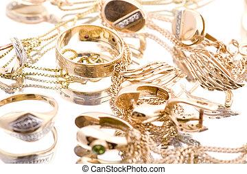 object on white - Golden valuable macro