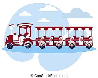 object., rysunek, płaski, dzieci, minimalista, style., pociąg, lokomotywa, wektor