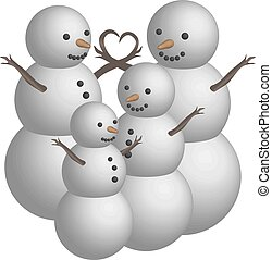 Object snowman family in 3D