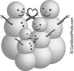 Object snowman family in 3D