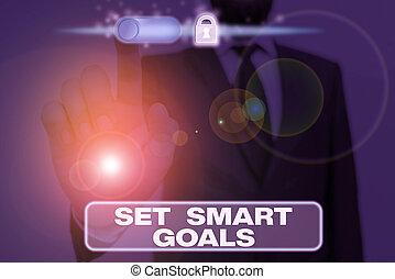 objectifs, intelligent, business, goals., showcasing, photo, projection, écriture, bon, note, achievable, faire, establish, plans., ensemble