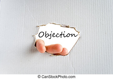 Objection text concept isolated over white background