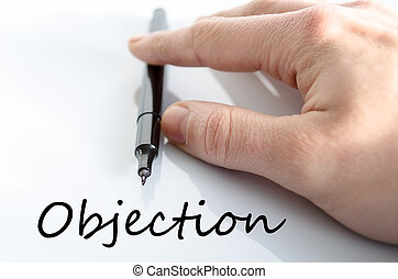 objection, texte, concept