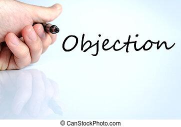 objection, texte, concept