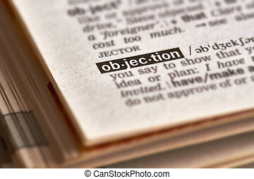 Objection Word Definition Text in Dictionary Page