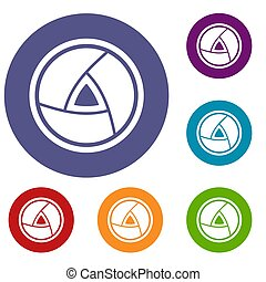Objective icons set in flat circle reb, blue and green color...