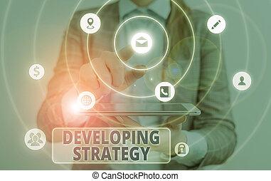 objectives., テキスト, 概念, ゴール, 手, 提示, 計画, 写真, ゲーム, セット, 特定, 執筆, 成長, strategy., ビジネス