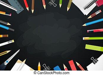objects., 別, 学校, テキスト, 黒板, フレーム, ベクトル