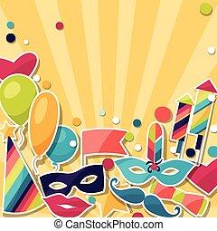 objects., adesivi, fondo, carnevale, celebrazione