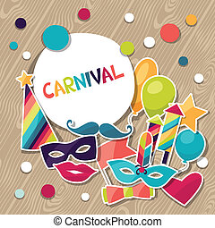 objects., adesivos, fundo, carnaval, celebração