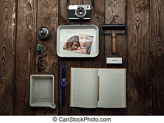 objects at workplace of photographer