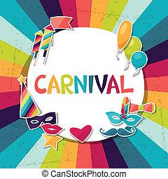 objects., autocollants, fond, carnaval, célébration
