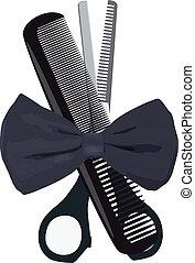 objects barber, - tie, scissors, comb