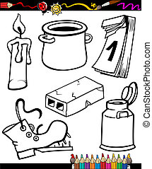 objects cartoon set for coloring book