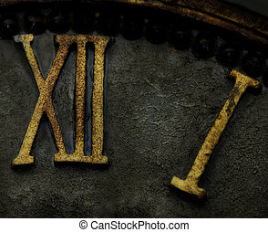 Roman numerals on a clock face making up thirteen.