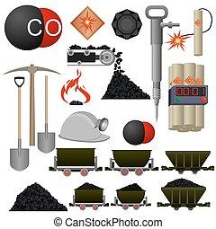 Set of badges and coal mining machinery. Illustration on white background.