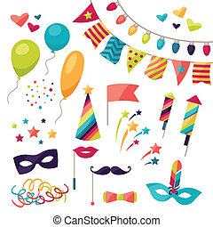 objects., conjunto, celebración, carnaval, iconos