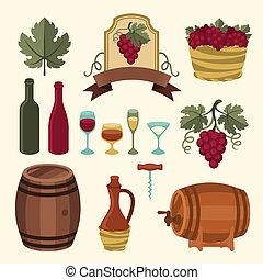 objects., ensemble, icônes, éléments, vin