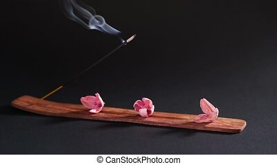 Objects for aromatherapy on a dark background, close-up. Incense and dry pink flowers 4k