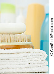 Clean towel, brush and soap
