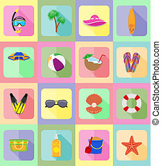 objects for recreation a beach flat icons illustration