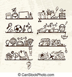 Objects for school on shelves, sketch drawing for your design