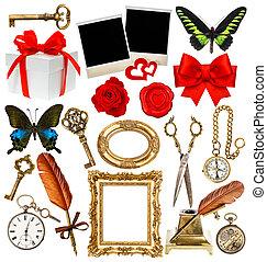 objects for scrapbook. clock, key, photo frame, butterfly, rose