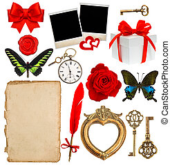 objects for scrapbooking. letter paper, photo frame, flower, but