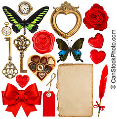 Objects for Valentines Day scrapbook. Paper page, red hearts, ph
