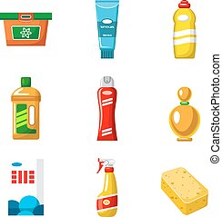 Objects of household chemicals vector isolated
