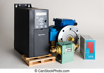 Objects of industrial automation on a white background -...