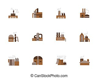 Objects of industry simple flat style vector icons
