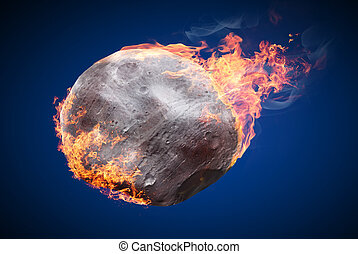 Objects on fire - Illustration of an asteroid burning in...