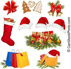 objects., sätta, jul, vector.
