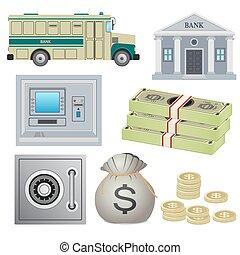 objects., sæt, bank
