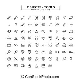 Objects Tools Line Icon Set