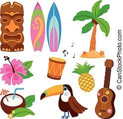 objects., vector, hawaiano, ilustración, colección